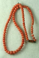 VICTORIAN ANTIQUE 14K GLD CORAL BEADS 15 INCH NECKLACE