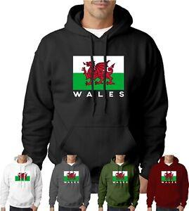 Wales Cymru Hoodie Welsh Dragon Flag Unisex Clothing Hoody Mens UK Top Jumper