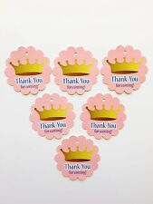 12 Princess Crown pink and gold Thank you birthday favor tags