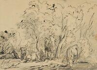 L. VOLTZ (*1825), Weidende Kühe, 19. Jhd., Tusche
