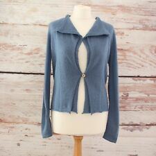 WHITE STUFF Blue Linen Wool Blend Long Sleeve Cardigan Size 12 Autumn Winter