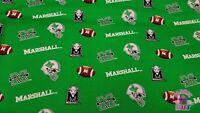 NCAA Marshall University Thundering Heard Green Toss Cotton Fabric By the Yard