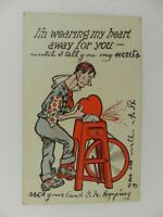 Vintage 1908 Posted Postcard Man sanding his Heart