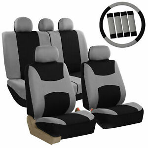Car Seat Covers for Auto Full Set Gray w/Steering Wheel/Belt Pad/5Head Rest