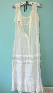 Antique ladies lace cotton full length petticoat