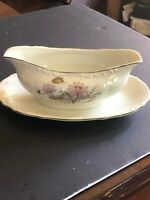 Bristol Fine China Carillon Gravy Boat with Attached Underplate - Vintage