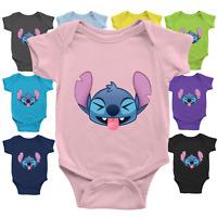 Infant Baby Boy Girl Rib Bodysuit Jumpsuit Newborn Lilo Stitch Funny Face Smile