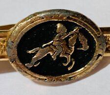 Vintage Jousting Jock Knight Horse Money Clip Alligator Claw gold tone black