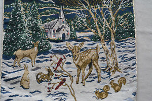 """Vintage Snowy Christmas Tapestry Pillow Woodland Deer Church 15"""""""