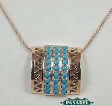 New 14k Rose Gold Turquoise Pendant On Chain Necklace.