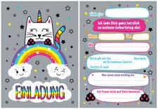 12 Einladungskarten Einhorn Einladungen zum Kindergeburtstag Einhorn Katze