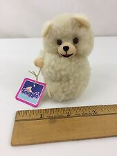 """Vintage 1986 Russ Snuggle Bear Clip Pinch Squeeze Hands With Tag Tiny 3"""" High"""