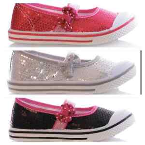 New Girl's Summer Shoes For Infants Sequin Elastic Bar Pump Assorted All Sizes