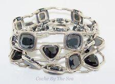 Silpada Hematite Cubic Zirconia Sterling Silver Stretch Bracelet B2312 Retired