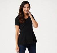 Isaac Mizrahi Live! Short-Sleeve Seamed Peplum Knit Top - Black - Small