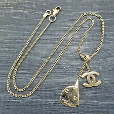 CHANEL Gold Plated CC Logos Yacht Charm Vintage Necklace Pendant #5860a Rise-on