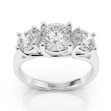 2.00 Ct Round Cut 3 Stone Diamond Engagement Ring 14K White Gold Rings Size K L
