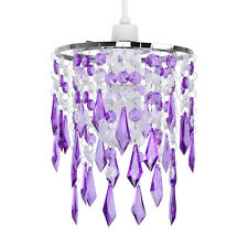 Modern Chrome / Purple & Clear Ceiling Pendant Light Shade Chandelier Lampshade