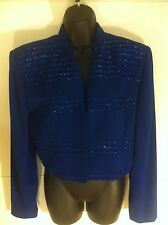 RIMINI by Shaw Women's M/L Royal Blue Evening Jacket With Accents.