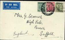 427015) Burma / Birma Überdrucke von Indien auf Luftpost 1938 nach GB