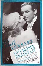 1936 CAROLE LOMBARD LOVE BEFORE BREAKFAST FILM PROMO TRADE ADVERTISEMENT/ POSTER