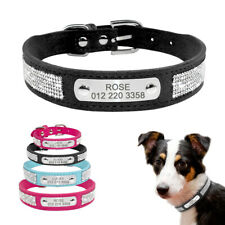 Small Medium Dog Collar Suede Leather Personalised Collars Yorkie French Bulldog