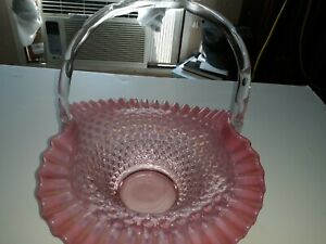 Beautiful Vintage Fenton Pink Opalescent Hobnail Basket