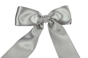 """WHITE Flower Girl Basket with 1.5"""" Satin Bows & Rhinestone Choose Bow Color"""