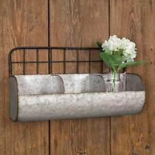 New Farmhouse Chic Vintage Style Divided Feed Trough Metal Wall Basket Bin Shelf