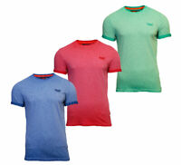 Superdry Mens New Summer Low Roller Crew Neck Short Sleeve T-Shirt Red Blue Aqua