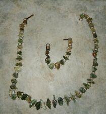 Vtg Irish Connemara Marble Chip Necklace & Bracelet