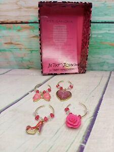 Betsey Johnson Wine 🍷 Glass Charm Set Hair Bow, Crystal Heart, High Heel, Rose