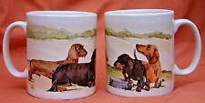 DACHSHUND HOUNDS DOG MUG OFF TO THE DOG SHOW WATERCOLOUR PRINT SANDRA COEN ART