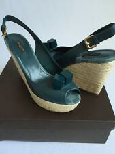 LOUIS VUITTON Blue Damier Leather Wedge Sandals Farniente Sz 40 US 10 NIB $899