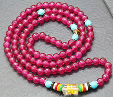6mm Tibetan Buddhist 108 Rose Red Jade Prayer Bead Lama Amulet Necklace Bracelet