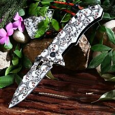 COUTEAU CAMPING OUTDOOR SPRING ASSISTED KNIFE W/ CAMO SKULLS 22 cm/ 8.5'' OPEN
