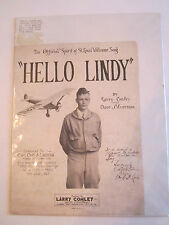 """1927 """"HELLO LINDY"""" MUSIC SHEET BY LARRY CONLEY - COMPLETE - VERY NICE - TUB RR"""