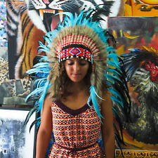 Real Chief Indian Headdress 95cm Native American War Bonnet Costume Feathers Hat
