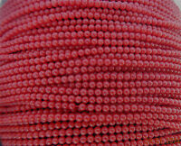 """GENUINE DYED CORAL ROUND, SMOOTH BEADS - 2-2.5mm EACH - 16"""" STRAND - RED"""