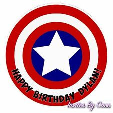 CAPTAIN AMERICA ROUND 7 INCH EDIBLE IMAGE CAKE TOPPER BIRTHDAY PARTY KIDS