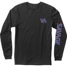 NWT MEN'S RVCA SIZE MEDIUM LONG SLEEVE SAVAGE T-SHIRT BLACK GRAPHIC TEE SKATE