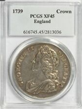 GEORGE II SILVER CROWN 1739 EDGE DVODECIMO S3687 GREAT BRITAIN