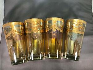 4 Vintage Preziosi Cocktail Hi-ball Glasses Handmade Italy Barware - Gold,Ornate