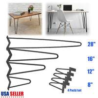 2 3 Rod Hairpin Iron Legs 4 set 8'' 12 16 28'' 30'' Simple Table Desk Furniture