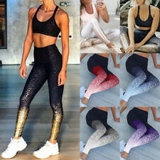 Womens Sparkly High Waist Yoga Pants Stretch Fitness Joggings Leggings Trousers