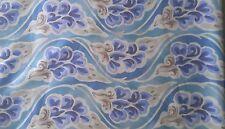 TABRIZ a JACK LENOR LARSEN Design Blue Tones Floral Printed 1988 Dupont Teflon