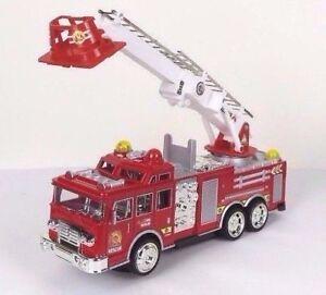 "Fire Engine Rescue Truck w/ Flashing Lights Siren Drives Ladder Adjust 10"" L New"