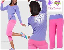 ZUMBA 2Pc.SET!! Flash Flare Leggings Capri Pants + Top Shirt Tee XS S M L XL XXL
