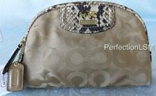 NWT Coach #46637 Madison OP Art Cosmetic Case in Khaki & Natural with snake trim
