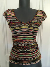 MISSONI TOP 36 S IT.42 XS V-AUSSCHNITT PULLOVER WOLLE SWEATER T-SHIRT TAILLIERT